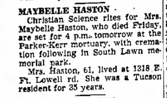Maybelle Baldwin Haston -