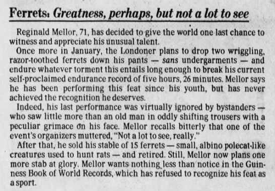 Man plans to break own Ferret Legging record, 1981 -