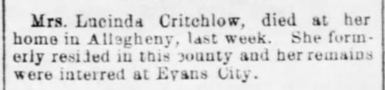 More Research Critchlow Death 1896 -