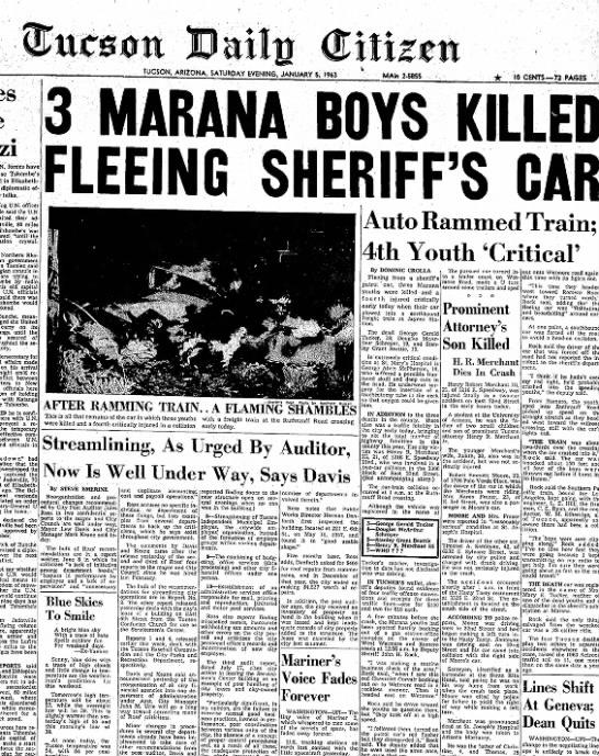 3 Marana Boys killed fleeing Sheriff's Car 1963 -