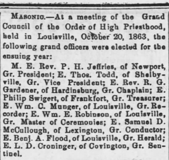 Samuel D. McCullough - Masonic Lodge - Masonic. At a meeting of the Grand Council of...