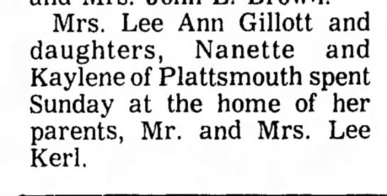 Kerl, Lee Visitors 5 Nov 1974 Beatrice Daily Sun -