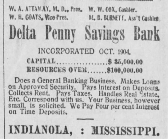 Delta Penny Savings Bank, Indianola, MS, The Nashville Globe, July 30, 1909 -