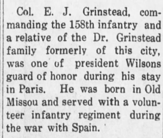 Colonel E.J. Grinstead Relative-Chariton Courier; 03 Jan 1919, pg 5 -