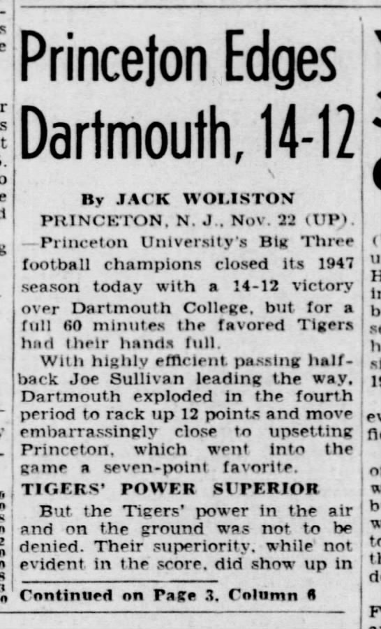Princeton Edges Dartmouth, 14-12 -