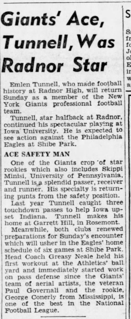 Giants' Ace, Tunnell, Was Radnor Star -