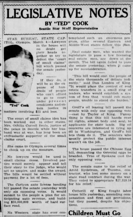 Othilia Carroll Beals and Small Claims Court (1919) -