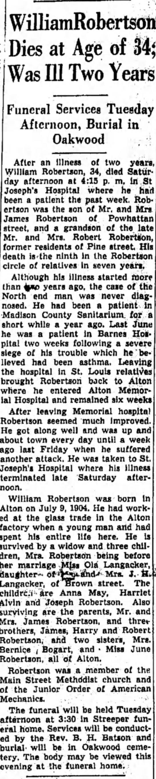William Robertson 26 Sept 1938 - WilliamRobertsoli -•T\\ao at A tf £ f\$ JL/lCo...