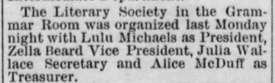 C F Michaels daughter Lulu is Literary Society President YE September 30 1898 pg 5 -