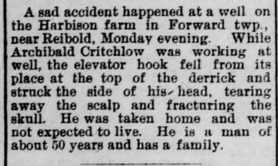 More Research Archibald Critchlow accident 1906 -