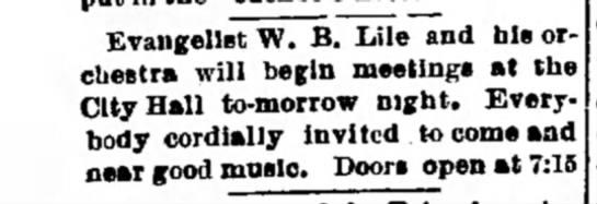 W.B. LileChillicothe, MO 3 Sep 1890 -