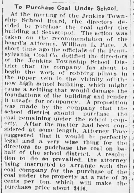 Jenkins Township to Purchase Coal Rights to Prevent Mining Underneath School, 1911 -