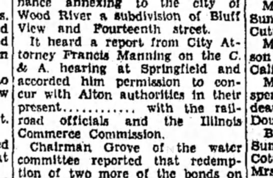 F Manning - annexing to the city of Wood River a...