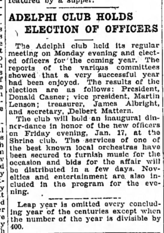 Martin now treasurer of Adelphi Club- 9 January 1930 -