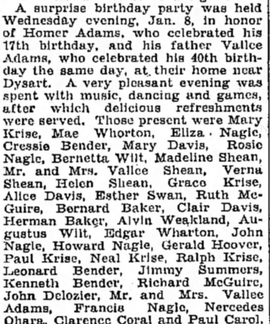 Adams and Krise, 14 Jan 1930, Altoona Mirror -
