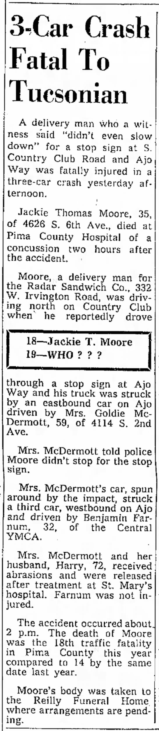 Jackie T. Moore-Death Tuscon Daily Citizen 13 Mar 1963 -