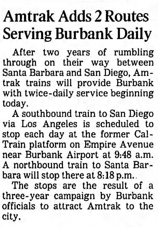 Amtrak Adds 2 Routes Serving Burbank Daily -