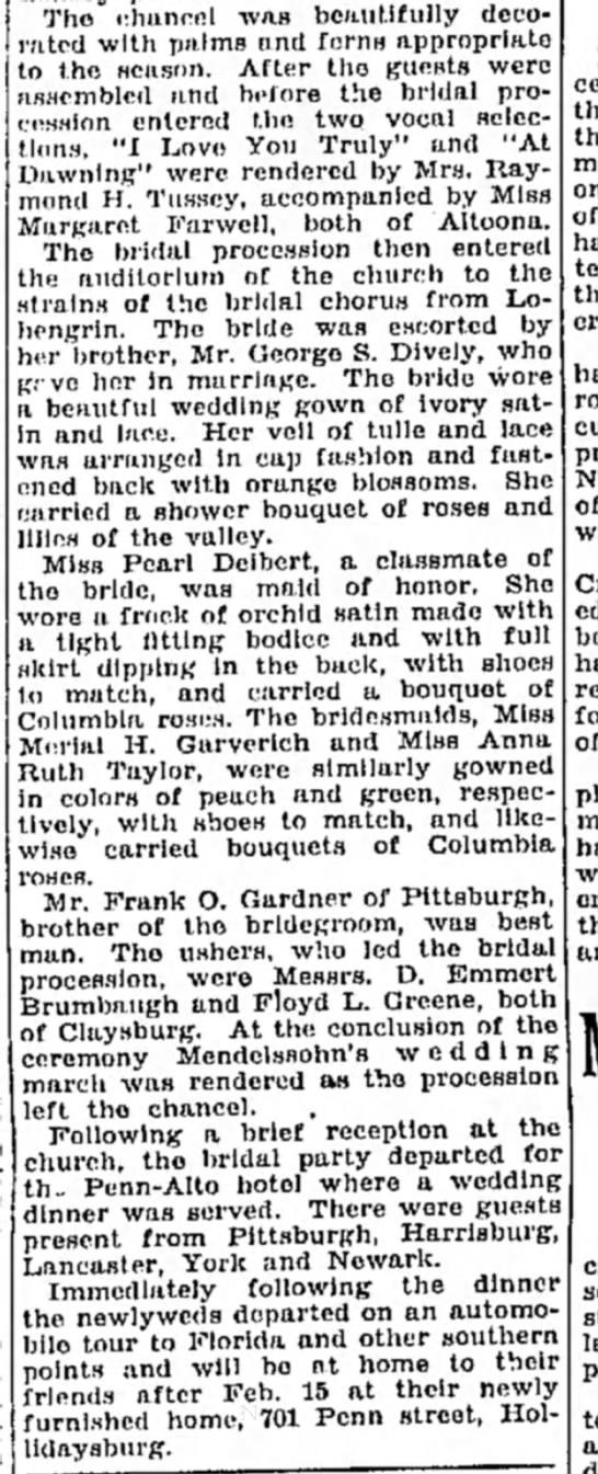 Ashton Gardner and Jennie Diveley marry on 1 25 1930 -
