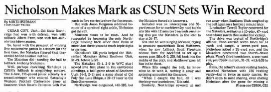 Nicholson Makes Mark as CSUN Sets Win Record -