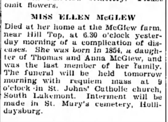 Obit for Ellen McGlew, daughter of Thomas and Anna McGlew, 7 Oct 1929 -