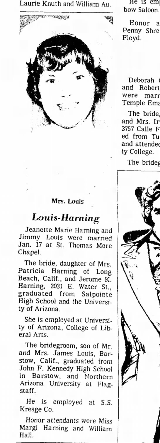 Louis - Harning Wedding Announcement in Arizona Dailey Star 1/17/1976 -