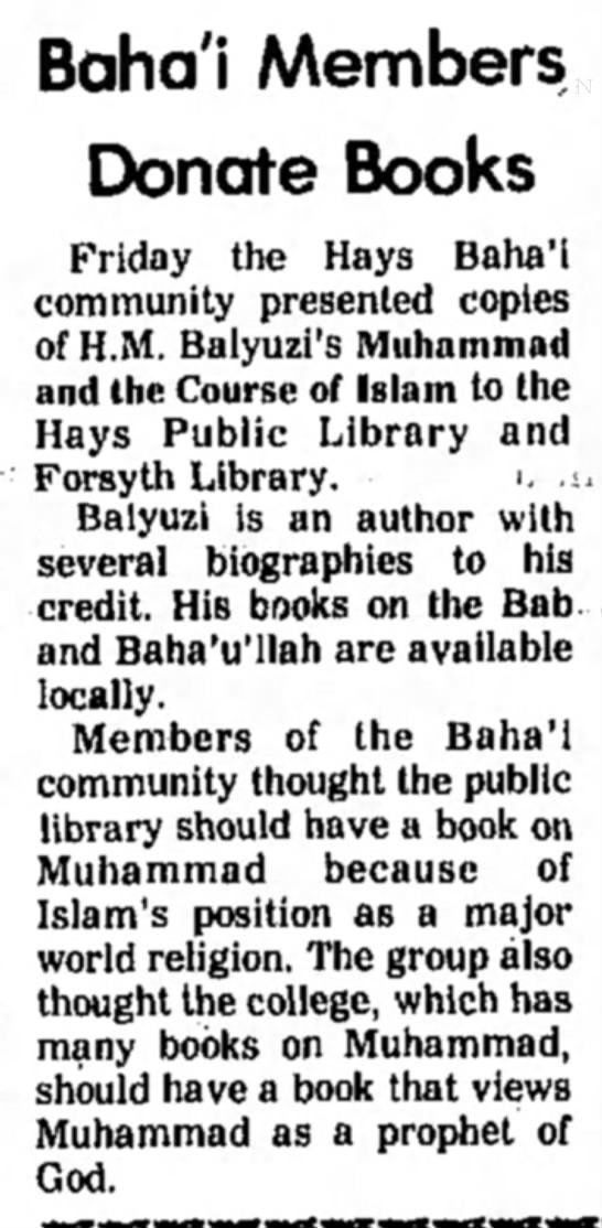 Baha'i book donated to library - Balyuzi's Muhammad and the Course of Islam -