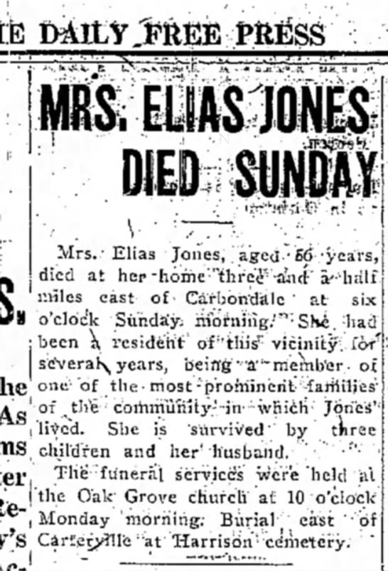 Sarah Henry Jones Obit (?)