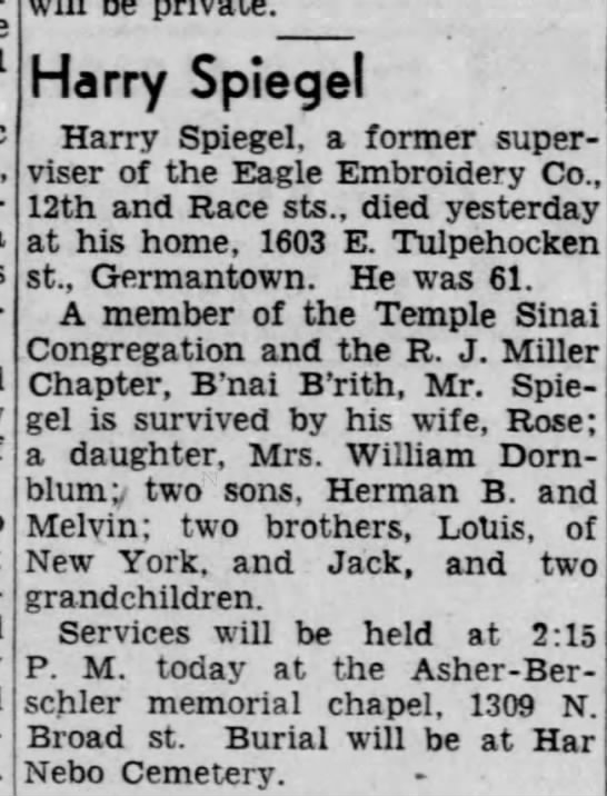 Harry Spiegel obit Apr 18, 1955 -