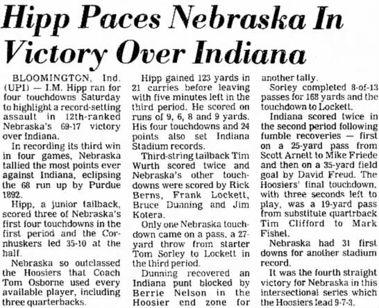 1978 Nebraska-Indiana UPI -