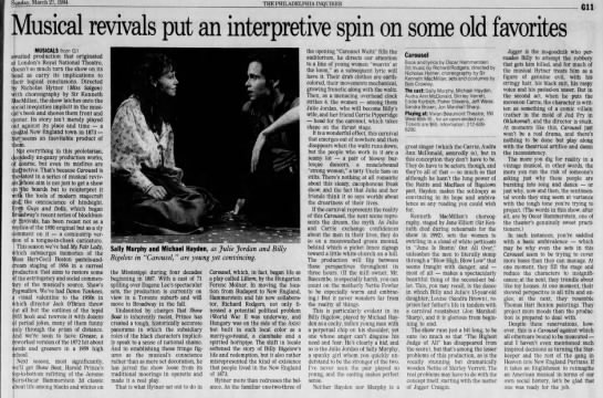 Carousel Inquirer Review Pt. 2 (3-27-94) - Sunday, 27, 1994 THE PHILADELPHIA INQUIRER Gil...