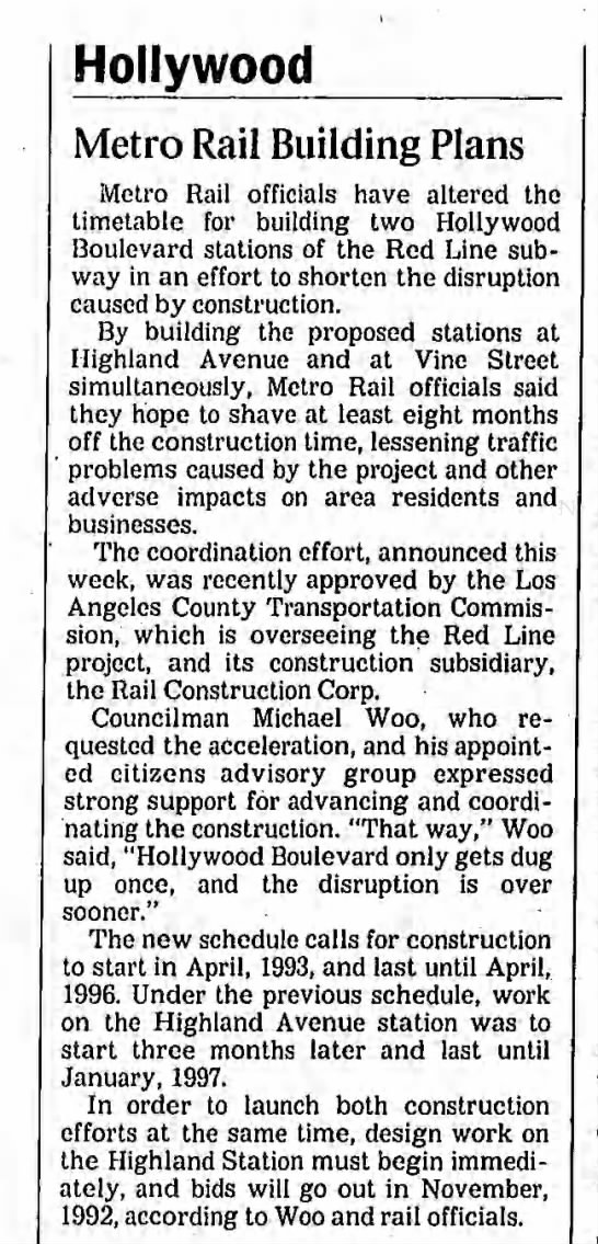 Hollywood stations at Vine and Highland -