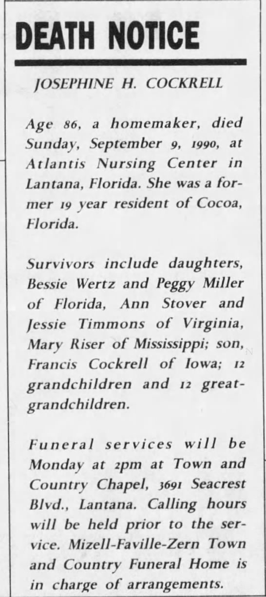 Josephine Cockrell Obituary in Florida Today Newspaper 16 Sep 1990 issue -