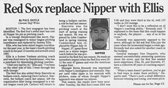 Red Sox replace Nipper with Ellis -