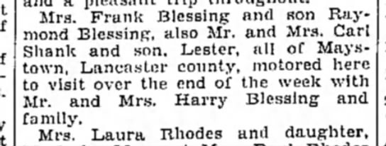 Blessings-Shanks visit Mount Union-Altoona Mirror-p.30-7 August 1930 -
