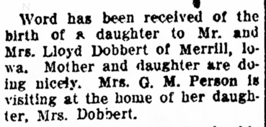 Birth announcement of Jane Elaine Dobbert, daughter of Lloyd Dobbert and Mildred Person -