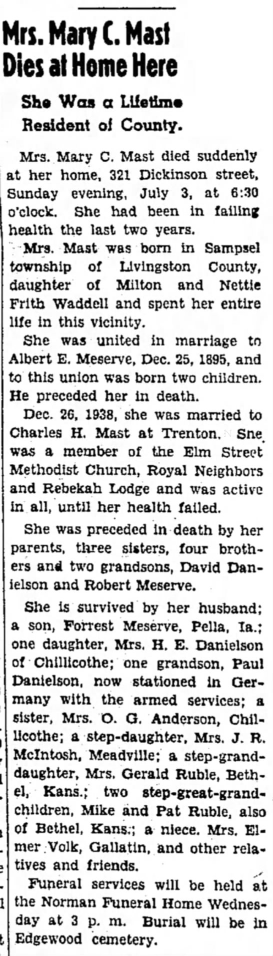 Mary Waddell Obit Chillicothe MO July 3 1955 -