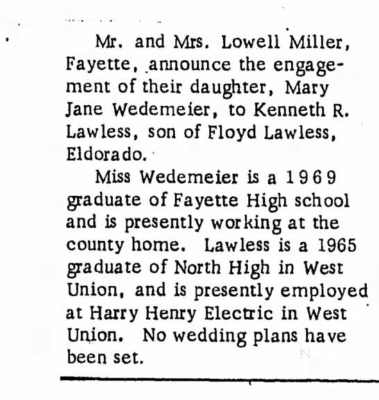 - Mr. and Mrs. Lowell Miller, Fayette, announce...