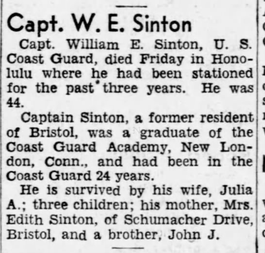 William Ernest sinton death -