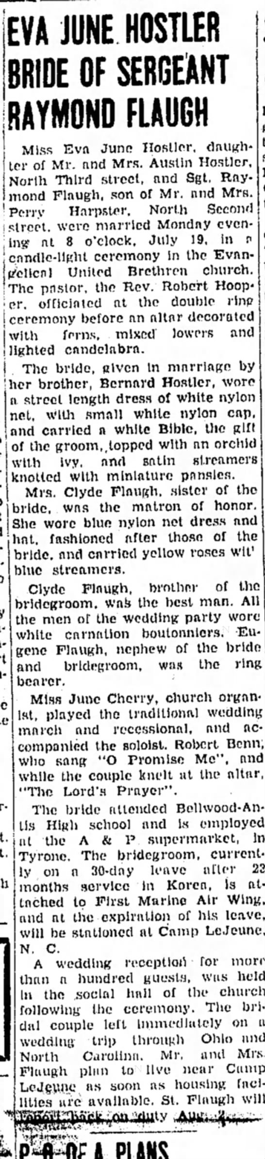 Raymond Flaugh - EVA JUNE HOSTLER BRIDE OF SERGEANT RAYMOND...