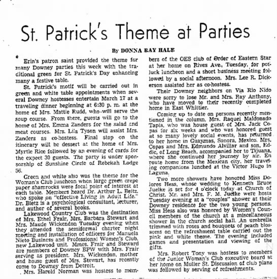 St. Patrick's Day party, 15 March 1953. -