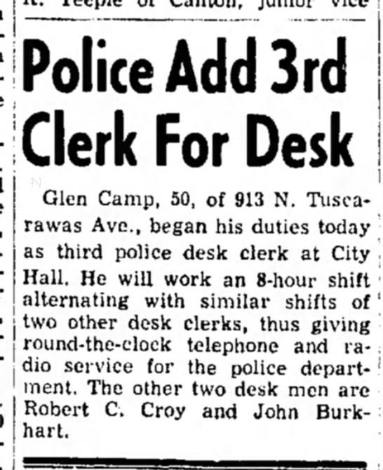 Glen Camp 3rd Clerk for police desk Dover Oh 9 Jun 1958 -
