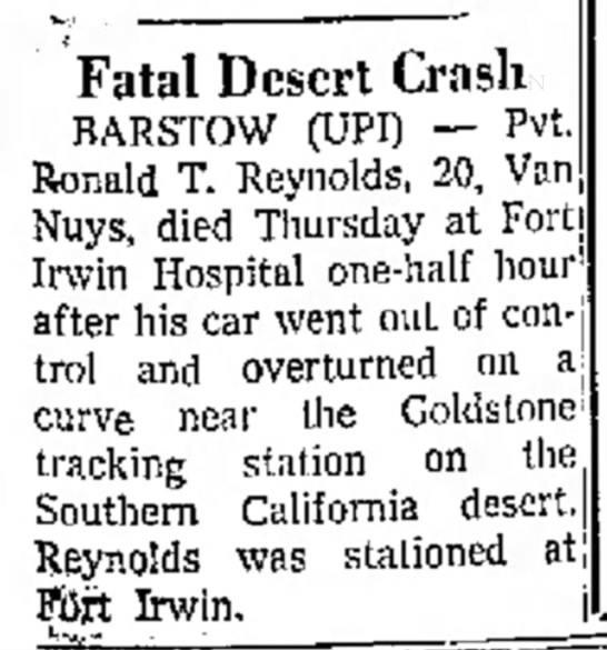 - Fatal Desert Crash BARSTOW (UPI) -- Pvt. Ronald...