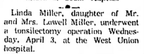 - Linda Miller, daughter of Mr. and Mrs. Lowell...