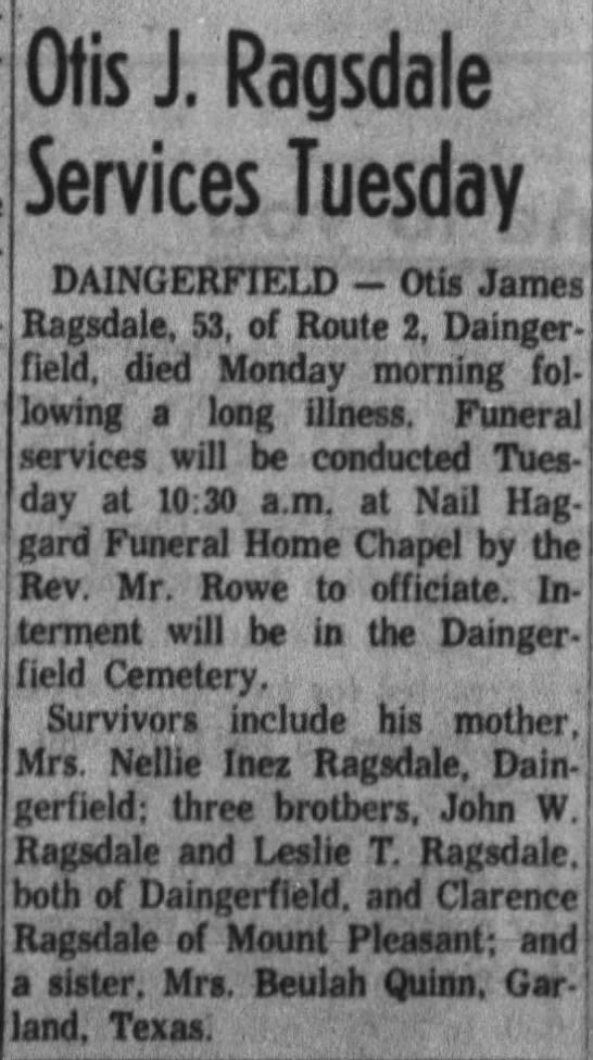 Otis James Ragsdale Obit -