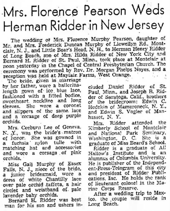 - Mrs. Florence Pearson Herman Ridden in New ol...