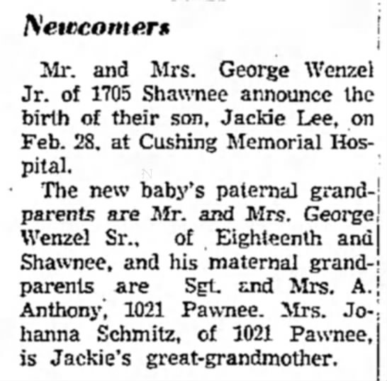 Wenzel Jackie birth announcement 3-4-1953 - Newspapers com
