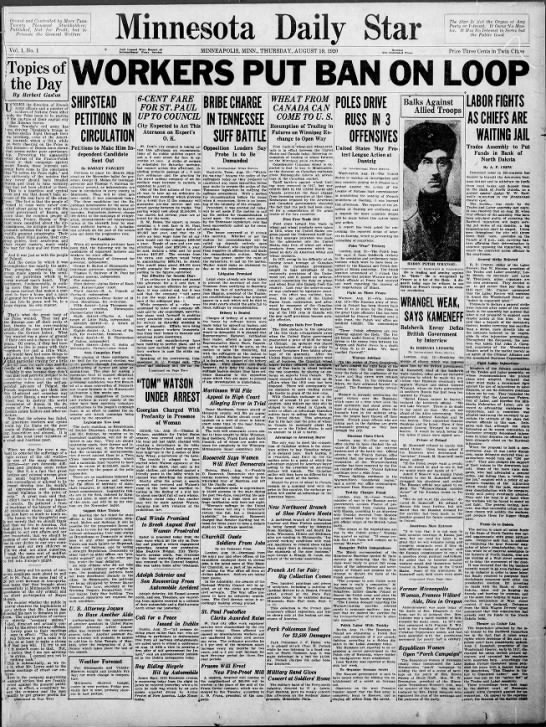 First issue of the Minnesota Daily Star, 19 Aug 1920 - M Do n ally Owned and Controlled by More Than....