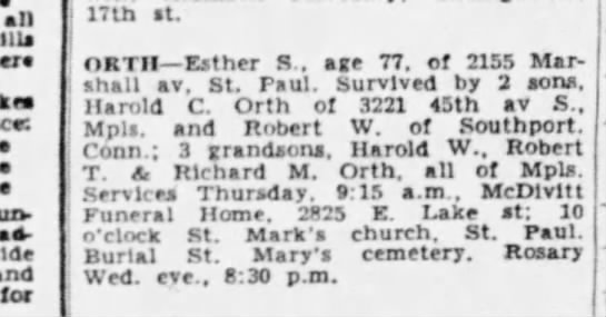 - 17th st. ORTH Esther 8., age 77. of 2155...