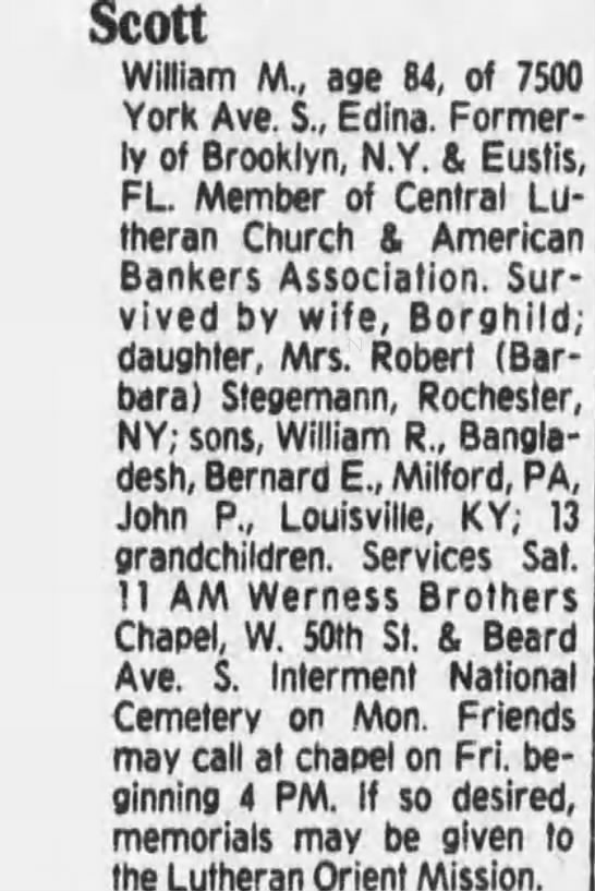 Obituary for Scott William M. (Aged 84) -
