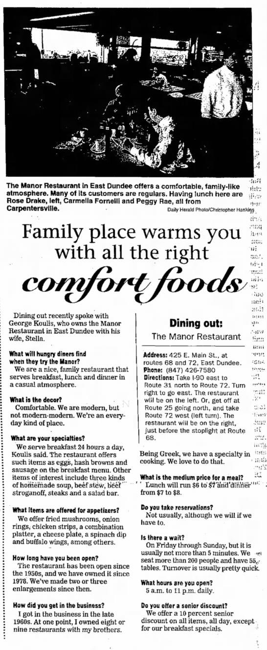 Manor Restaurant - comfort foods - George Koulis - East Dundee -